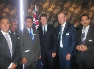 The NSW Premier Mike Baird  with  Aron Wakil Consul General of The Republic of Sierra Leone and the Consular Generals of PNG, Samoa , Denmark and India November 2014 meeting in Sydney.